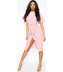 angel sleeve twist detail midi dress, rose