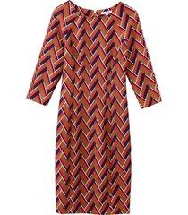 vestido geométrico mangas camel nicopoly