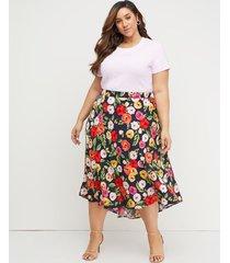 lane bryant women's printed midi skirt 26/28 bold floral