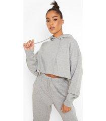 gerecyclede korte hoodie, grey marl