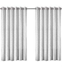 cortina em poliéster com ilhos em metal bloom branca 400x230cm