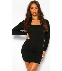 bodycon mini jurk met vierkante hals en lange mouwen, black