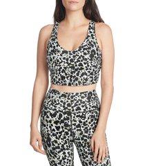 sage collective women's inkspot-print v-neck sports bra - size s