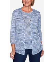 alfred dunner women's plus size denim friendly space dye two for one sweater