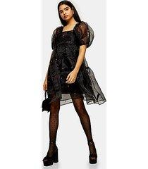 black embroidered organza tiered dress - black