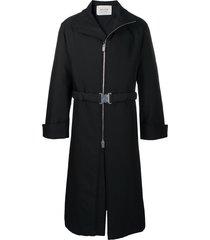 1017 alyx 9sm belted zip-up midi coat - black
