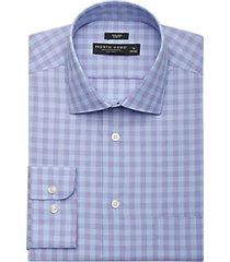 pronto uomo blue & purple plaid slim fit dress shirt