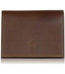 pineider designer small leather goods, power elegance double dark brown leather card holder