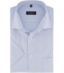 eterna comfort fit overhemd korte mouw blauw wit
