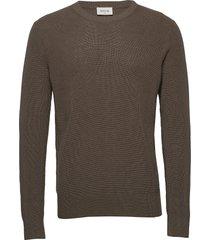 falcon sweater gebreide trui met ronde kraag bruin wood wood