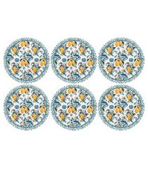 conjunto 6 pratos rasos 26cm oxford unni siciliano branco/azul