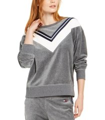 tommy hilfiger sport velour varsity stripe top