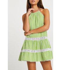 river island womens green tiered halter mini swing beach dress