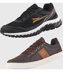 kit 2 - tênis caminhada e sapatênis casual ryn r500a preto e marrom