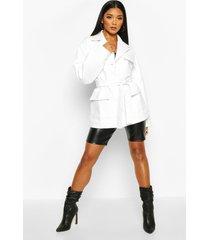 oversized leather look jacket, white
