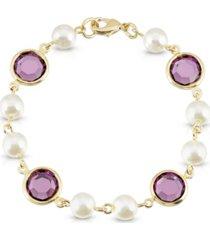 2028 gold-tone imitation pearl with purple channels link bracelet
