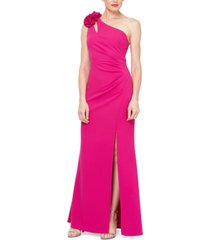 sl fashions one-shoulder asymmetrical-neck gown