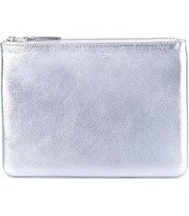 comme des garçons wallet 'silver' zip purse - metallic