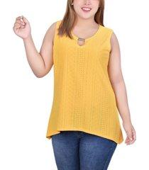 plus size sleeveless knit eyelet top with hardware