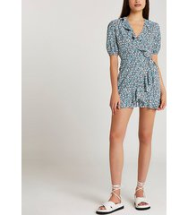 river island womens blue floral print frill detail playsuit