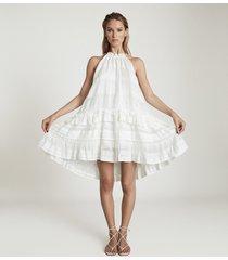 reiss gabriella - linen blend mini dress in white, womens, size 14
