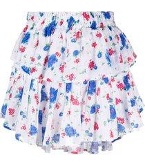loveshackfancy layered all-over floral print skirt - white