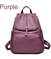 mochilas/ tejido de cuero de la pu mochila mujeres-púrpura