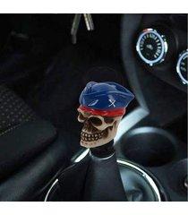 universal de cráneo con un sombrero forma coche pomo de palanca de cambios transmision auto modificado coche pomo palanca de cambio pomo resina artes de perillas