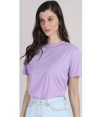t-shirt feminina mindset manga curta decote redondo lilás
