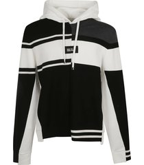 dolce & gabbana asymmetric stripe logo hooded sweater