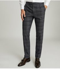 reiss dream - checked slim fit trousers in navy, mens, size 38