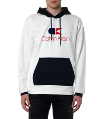 calvin klein blue and white cotton sweatshirt with hood and logo print