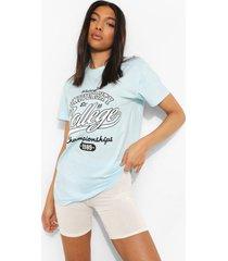 tall oversized university t-shirt, light blue