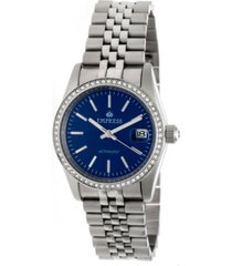 empress constance automatic blue dial, silver stainless steel watch 37mm