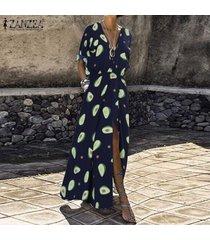 zanzea mujeres de manga larga playa de las vacaciones de verano del vestido largo maxi camisa de vestir de tamaño extra grande -azul marino