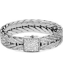 'modern chain' diamond extra large silver bracelet