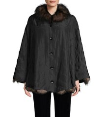 fox fur & silk reversible poncho