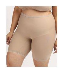 bermuda slim feminina dilady plus size cintura alta em microfibra bege