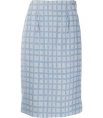 jean louis scherrer pre-owned 1990's check fitted skirt - blue