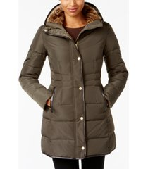 cole haan faux-fur-lined down puffer coat
