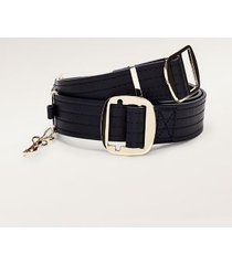 tommy hilfiger women's stitch detailing leather belt sky captain - 32