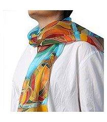 hand painted silk batik scarf, 'autumn colors' (armenia)