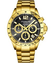 stuhrling original men's chrono, black dial, gold case, gold bracelet watch