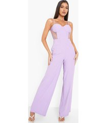 contrasterende kanten wide leg jumpsuit met korset detail, lilac