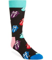 men's happy socks x rolling stones paint it bright crew socks, size one size - black