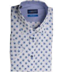 bos bright blue blue overhemd wit met print 20107wo38bo/210 l.blue licht blauw