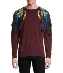 valentino garavani men's embroidered wings virgin wool & cashmere sweater - bordeaux - size s