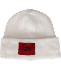 fourtwofour on fairfax white wool beanie hat
