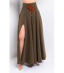akira out and about maxi side slit skirt