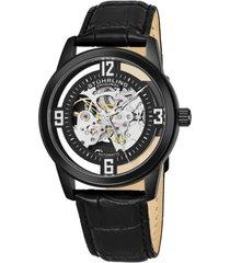 stuhrling original men's dress skeletonized automatic watch, black case on black alligator embossed genuine leather strap, black skeletonized dial with silver tone accents